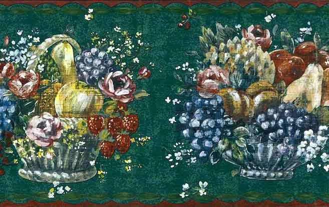 Fruit Baskets Wallpaper Border with Floral Arrangement