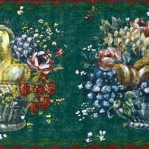 Fruit Baskets Wallpaper Border Vintage Floral Kitchen FK71410 FREE Ship