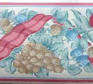 Ribbon Fruit Vintage Wallpaper Border Kitchen Cottage PL7900B FREE Ship