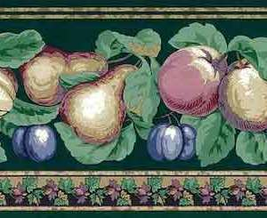Marbleized Fruit Vintage Wallpaper Border Kitchen Green 592825 FREE Ship