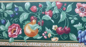 green fruit medley vintage wallpaper border, pears, cherries,
