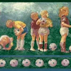 Vintage Soccer Balls Wallpaper Border Kids Sports Green 34094 FREE Ship