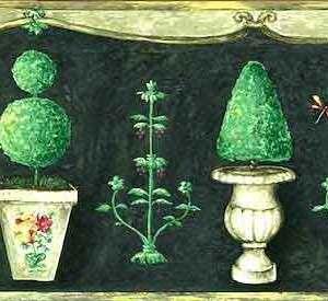 Green Topiaries Vintage Wallpaper Border Kitchen Gray Urns 702602B FREE Ship