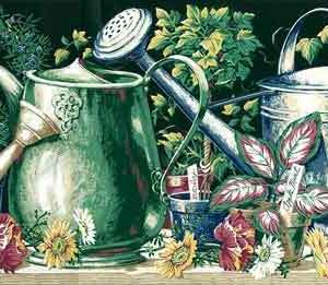 Watering Cans Vintage Wallpaper Border Kitchen Green K3633B FREE Ship