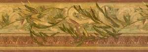 Leaves vintage wallpaper border, scrolls, gold, green