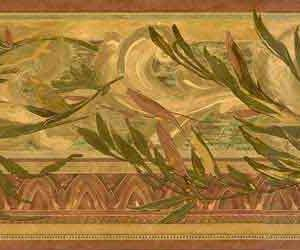 Leaves Vintage Wallpaper Border Scrolls Green ET30163B FREE Ship