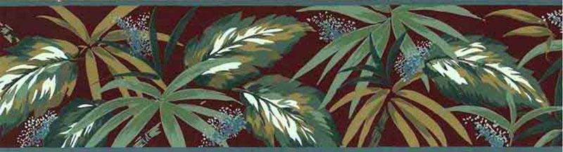 Purple And Black Damask Wallpaper Vintage Tropical Leaves Wallpaper Border Green 753 B610