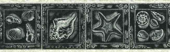 Seashells Vintage Wallpaper Border in Black & Silver