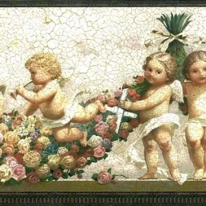 Cupids Vintage Wallpaper Border Angels Crackle VS104362 FREE Ship