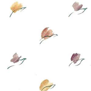 Tulip Vintage Wallpaper, modern style, red, orange, purple, lavender, green, cream
