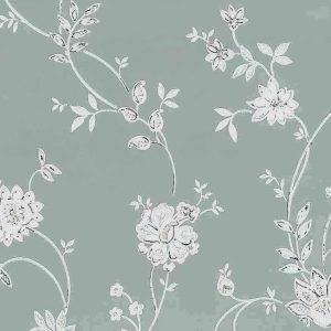Gray floral vintage wallpaper, paisey, pink