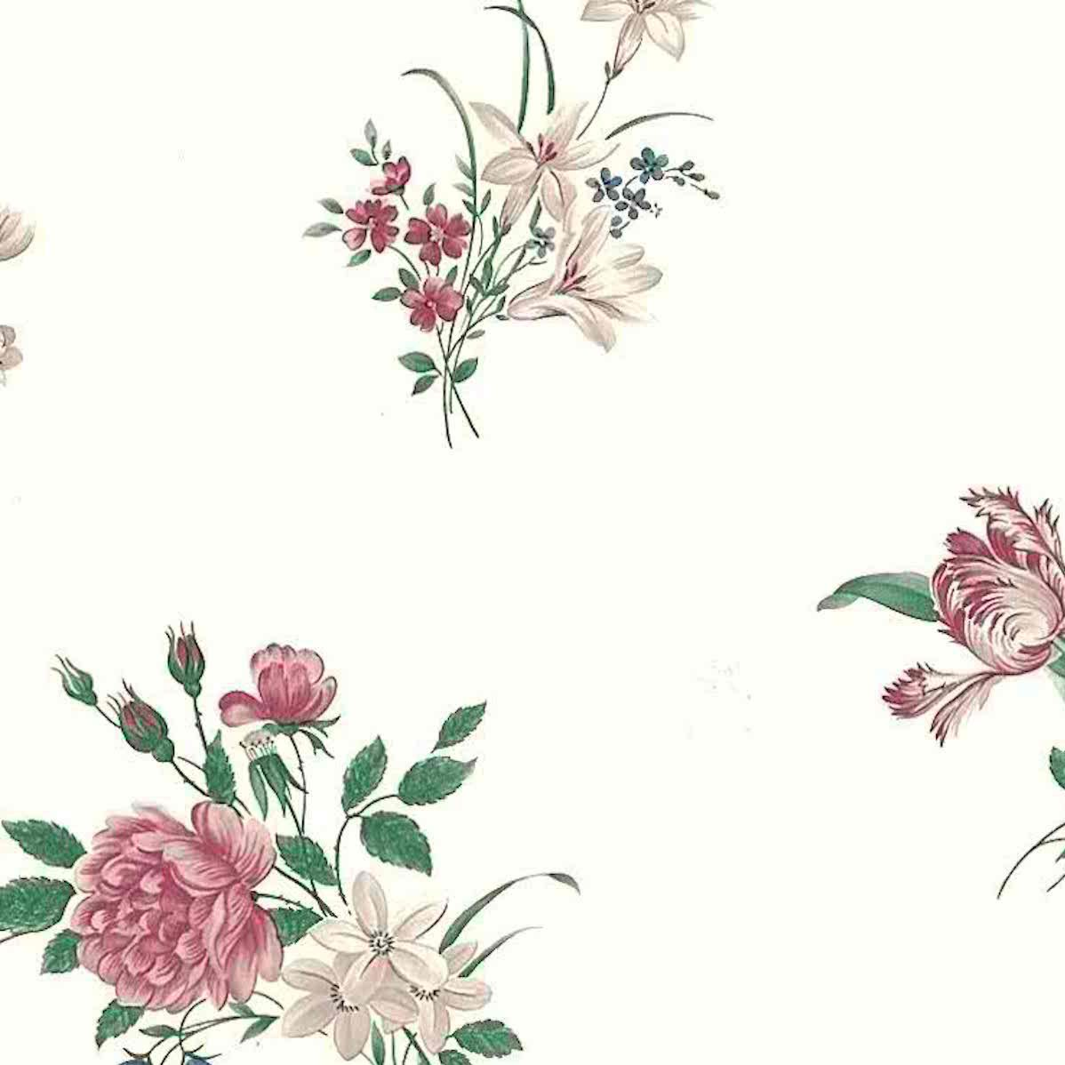 Peonies Tulips Vintage Wallpaper Pink Rose Blue Green D Rs