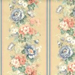 vintage style wallpaper and borders, stripe, striped, floral