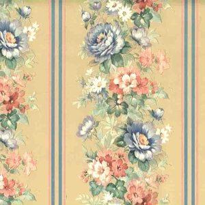Floral Stripe Vintage Wallpaper Pink Blue Beige Pearlized 19643 D/Rs