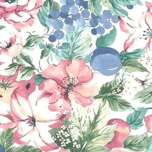 Hibiscus Floral Vintage Wallpaper Pink Blue Fruit TM2053 D/Rs