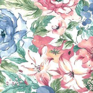Hibiscus Floral Vintage Wallpaper Pink Blue Fruit TM2053 D/Rs
