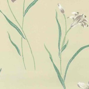 Waverly Lavender Lilies Vintage Wallpaper Teal Pearlized 551070 D/Rs