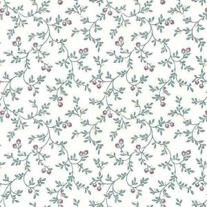 Victorian floral vintage wallpaper, green, vines, red, yellow, off-white, cottage, bedroom