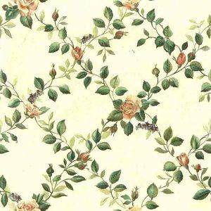 floral lattice vintage wallpaper, green vines, roses, beige satin finish