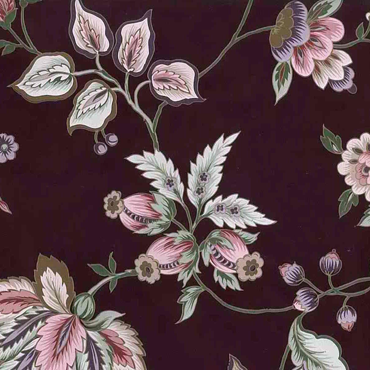 maroon floral vintage wallpaper, stylized flowers