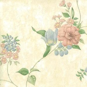Pastel Flowers Vintage Wallpaper Pink Blue Faux Finish 43224 D/Rs