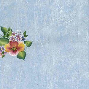Hibiscus Tropical Flower Vintage Wallpaper, Blue Faux Finish