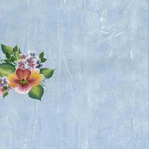 Tropical Flower Vintage Wallpaper Blue Faux Finish Floral 61002 D/Rs