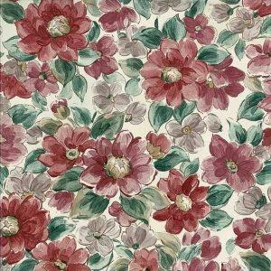 Large floral vintage wallpaper, pink, red, rose, green, off-white,
