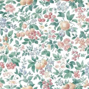 French Kitchen Vintage Wallpaper Fruit Floral 424OUZ14 Double Rolls