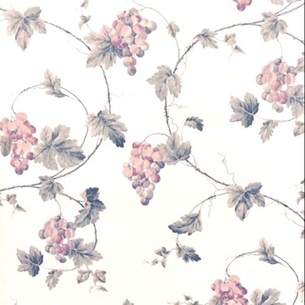 pearlized grape vintage wallpaper, pink, green, kitchen, blue, cottage, vines, leaves
