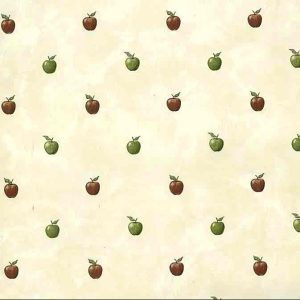Red Green Apples Vintage Wallpaper Kitchen Faux 176110 D/Rs