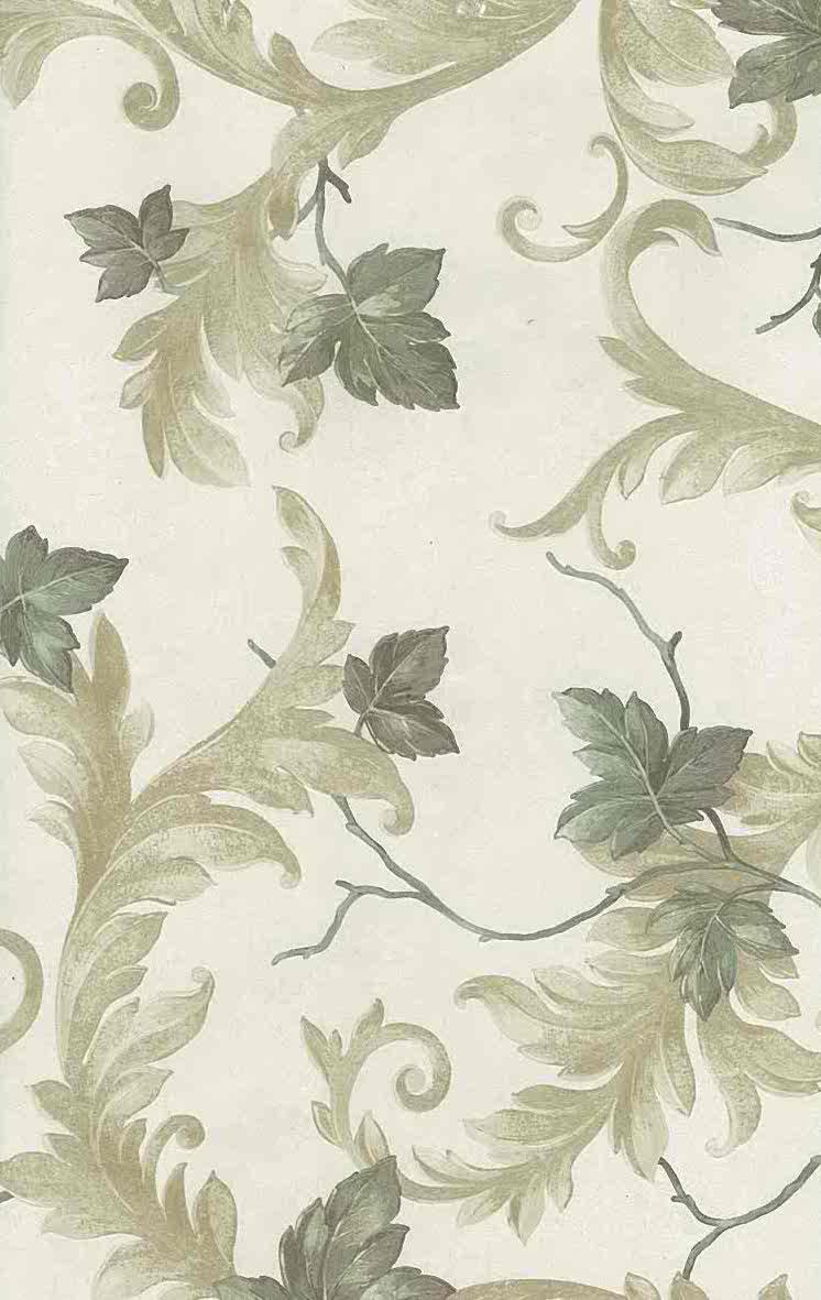 Leaves Scrolls Vintage Wallpaper Green Yellow Glazed Uk 43338 D Rs