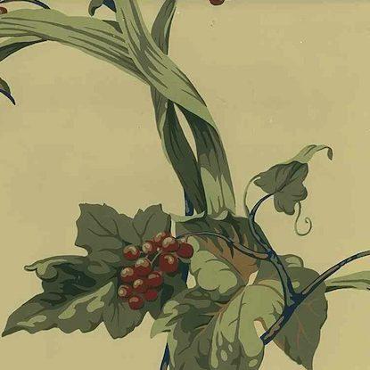 Antonina Vella botanical vintage wallpaper, taupe, green, red, Asian, Oriental, leaves, berries