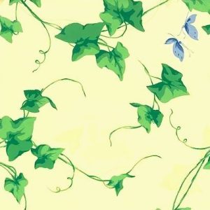 Yellow Green Ivy Wallpaper Blue Butterflies Carey Lind GS1730 D/Rs