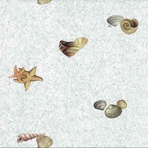 Seashells Bathroom Wallpaper Nautical Blue Faux MB4212 D/Rs