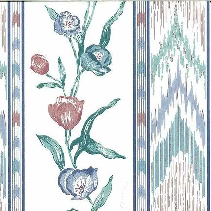 flame stitch vintage wallpaper, stripes, floral, flowers, blue, green, rose, striped, stripe, bedroom, dining room, traditional, classic