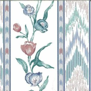 Flame Stitch Vintage Wallpaper Floral Tulip Stripe Rose Blue 586671 D/Rs