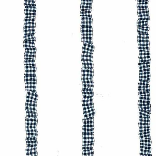 vintage wallpaper navy blue ribbon, checks, white, cottage, nursery