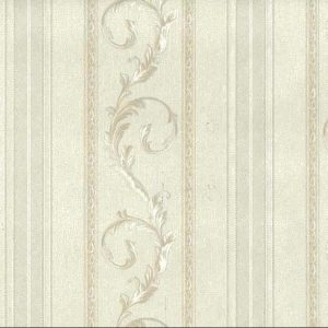 White Scrolls Stripes Vintage Wallpaper Glazed Italy C71812 D/Rs