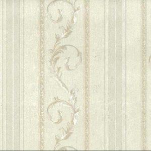 White Scrolls Stripes Vintage Wallpaper Glazed Italy C71812 D/Rs