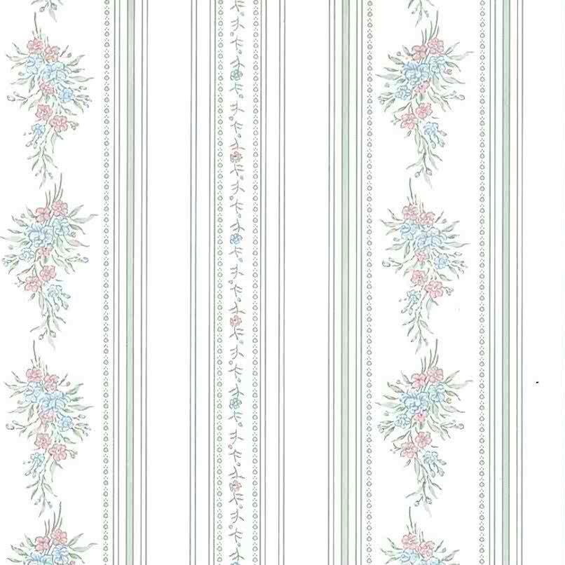 Sanitas vintage floral wasllpaper, stripes, green, pink, blue, bedroom, cottage