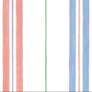 striped childrens vintage wallpaper, pink, blue, green, purple, off white, kids, nursery, playroom