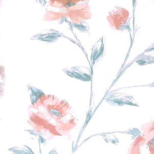 vintage wallpaper peach floral satin, taupe, green, white