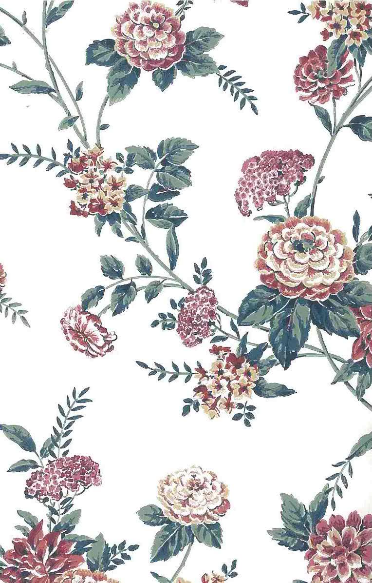 Pink Cottage Floral Vintage Wallpaper Green Off White Sop3091 D Rs