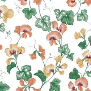 Orchid Vintage Wallpaper Orange Yellow Green UK 22411 Double Rolls