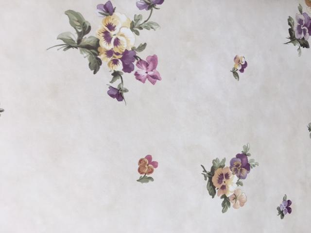 pansies floral vintage wallpaper, purple, green, rose, cottage, kitchen, bedroom