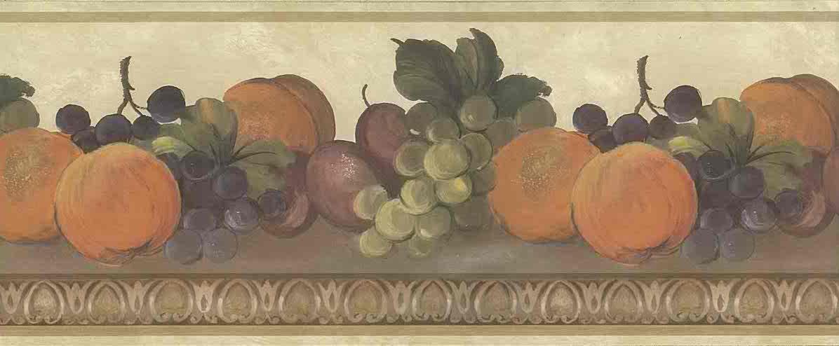 Fruit Vintage Wallpaper Border Kitchen Cream 750 8113 Free Ship