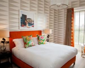 Bedroom Wallpaper Botanical Stripes