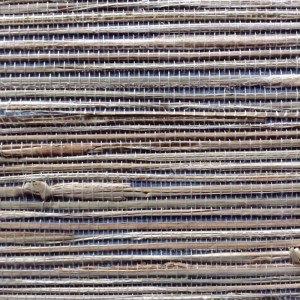 Wallpaper Natural Grasscloth Blue Beige 2661-13 SAMPLE