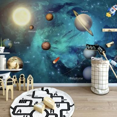 kids space theme mural, planets